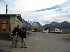 Us at the ranger station, about to set off (Jessie Reeder) Tags: chile travel camping patagonia mountains me southamerica trek landscape nationalpark kevin paisaje hike international andes torresdelpaine montaas parquenacional sudamrica