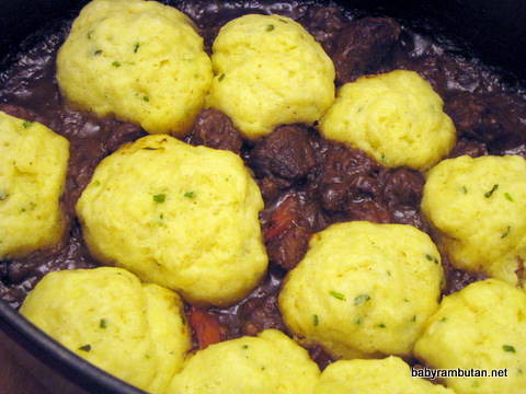 Guinness-beef stew with dumplings