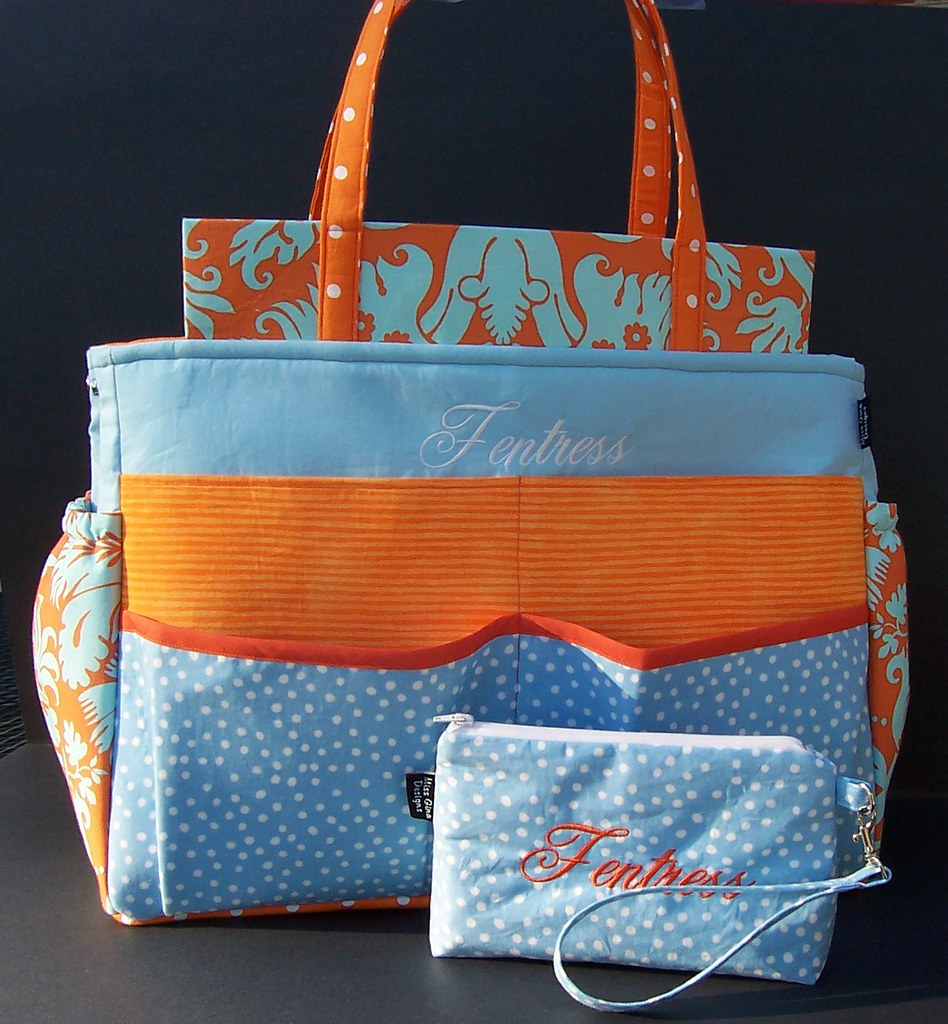 custom baby diaper bag - front with wristlet