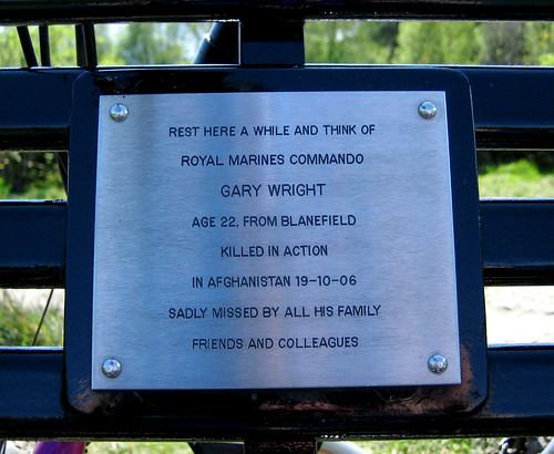 Sad memorial at the Strathblane viewpoint.