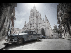 The building in the background (Kaj Bjurman) Tags: street church car canon eos havana cuba colonial 5d habana havanna hdr kuba kaj muted mkii markii cs4 photomatix bjurman