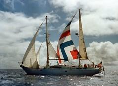 881128 Cloud Nine under Jury-rig (rona.h) Tags: 1988 tonga cloudnine ronah sailboatsandsailing vancouver27 bowman57