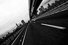 Ride. Police car is forward. (Noisy Paradise) Tags: road street city urban bw monochrome japan tokyo blackwhite sigma  odaiba foveon dp1  sigmadp1 noisyparadise