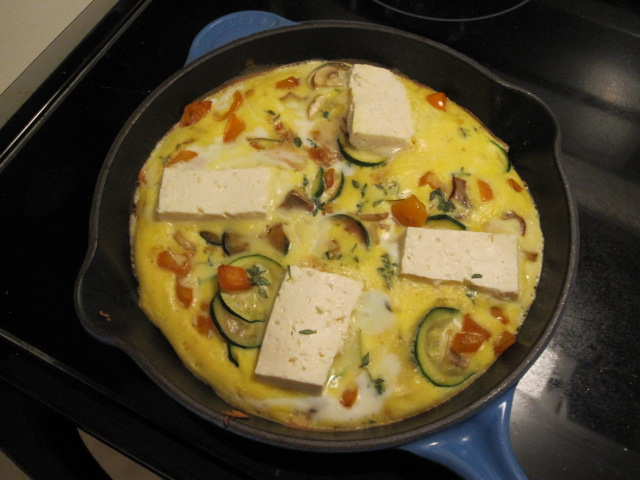 Veggie frittata with feta