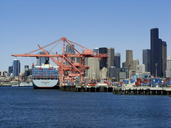 Port of Seattle and Seattle Skyline (BostonCityWalk) Tags: seattle city urban skyline architecture america port buildings design harbor washington downtown towers cranes shit