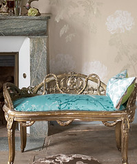 Modern Asian fabric: Turquoise cherry blossom jacquard print + neutral floral wallpaper (xJavierx) Tags: blue house inspiration home bench print asian design turquoise interior azure livingroom fabric decorating cherryblossom ornate decor gilded upholstery jacquard toneontone designersguild
