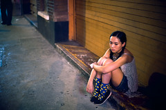 Teresa (TGKW) Tags: street portrait people girl yellow socks hongkong sitting sad expression candid chinese shutters teresa spotted mongkok 1169