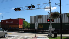 Southbound Canadian Pacific intermodal train crossing Shermer Road. Northbrook Illinois. June 2009.