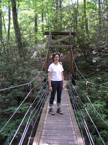 the suspension bridge on our walk around camp