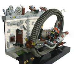 Steampunk Joyride (tin) Tags: street house brick wheel punk arms lego steel smoke steam sidewalk condo ba minifig gears ripping robo joyride steampunk brickarms