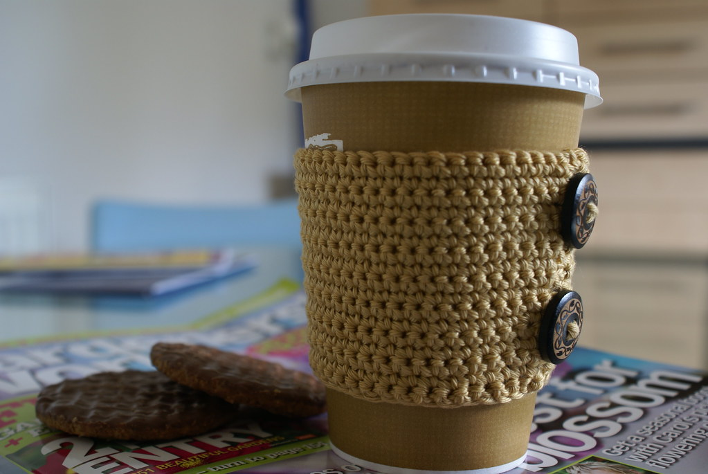 Crochet coffee cuff
