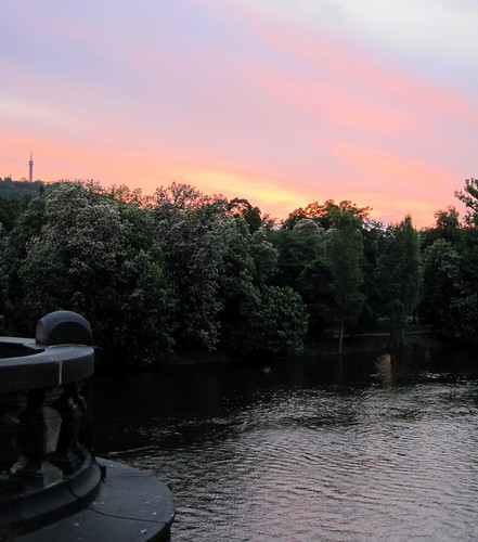 Sunset over Vltava River