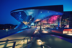BMW World II (Philipp Klinger Photography) Tags: longexposure bridge blue light shadow sky lamp museum architecture modern night stairs germany munich mnchen bayern deutschland bavaria lights nikon europa long exposure nocturnal purple shot oberbayern illumination hour bmw lamps bluehour railing philipp dri modernarchitecture welt ballustrade klinger bmwwelt bayerischemotorenwerke d700 dcdead
