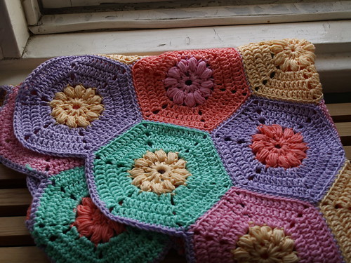 Crochet block table cloth