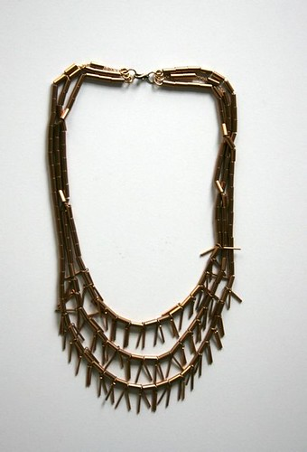 Copper Tube and Fringe Necklace