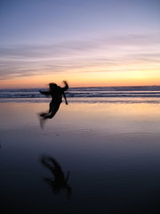 Sunset Silhouette Jump for Joy (orianaq) Tags: sunset beach silhouette manzanitaoregon