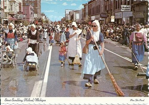 Post card: Street Scrubbing in Holland, Michigan