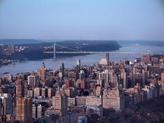 View of George Washington Bridge from Rockefeller Center (katiemetz) Tags: city nyc newyorkcity bridge urban ny newyork buildings river twilight view dusk manhattan rockefellercenter hudsonriver georgewashingtonbridge gebuilding