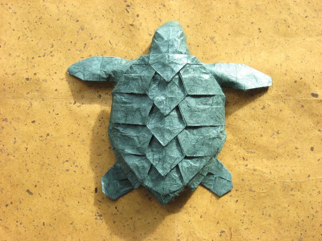 Final version jeosss origami blog model hawksbill sea turtle v2 designer geoff mayhew folded from approx 40cm unryufoiltissue sandwich paper jeuxipadfo Image collections