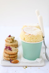 meyer lemon souffle with meyer lemon and pistachio shortbread cookies (cannelle-vanille) Tags: winter color valentines souffle sunnydays meyerlemon meyerlemoncurd meyerlemonandpistachioshortbreadcookies