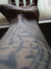 Left arm (the_dan) Tags: black tattoo grid grey sketch brighton arm tattoos elbow scrawl wrist moons sleeve nigelpalmer ninetattoo