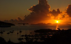 Sunrise - Tortola , British Virgin Islands (bvi4092) Tags: travel silhouette sunrise landscape dawn nikon yacht dusk gimp cruiseship caribbean tortola contrejour bvi britishvirginislands westindies ufraw intothelight d40 yourphototips