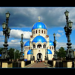 Blue Church (JannaPham) Tags: sky storm church canon eos cloudy russia blu moscow orthodox project365 mondayblues 40d jannapham