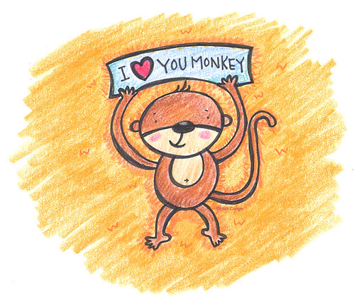 i love you monkey. A little monkey I created this morning for my daughter's