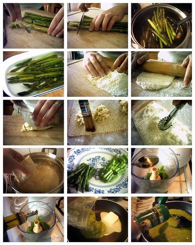 Ricetta passo-passo / Ravioloni saraceni con toma fondente e vellutata di asparagi