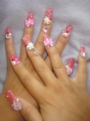 Pinky rose, heart, and bow nails (Pinky Anela) Tags: pink flower rose nails bow rhinestone gems japanesenails nnailart
