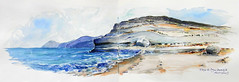 Cabo de Gata - Playa de Agua Amarga. (Juan.Blanco) Tags: watercolor sketch spain aquarelle acuarela cabodegata aquarel aguaamarga aquarela aquarell  acquerello suluboya akwarela