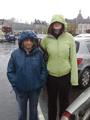 Raining in France. Gail and Sharon