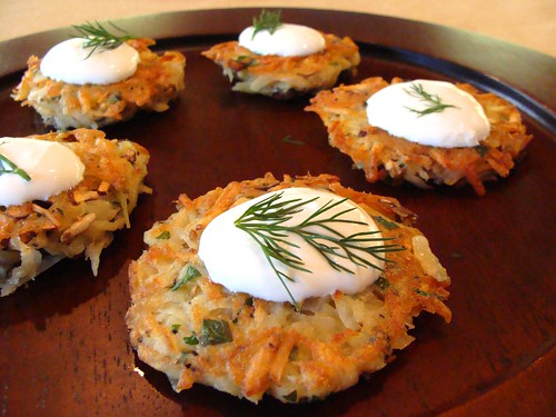 Mushroom Potato Hash Cakes with Greek Yogurt