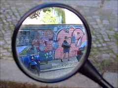 Girl in reflection of a mirror (V.C. Alblas) Tags: reflection berlin girl lady germany deutschland mirror artistic friedrichshain ostkreuz oldvehicle artisticphoto walkinggirl dscf0241 lenbachstrase vincentalblas