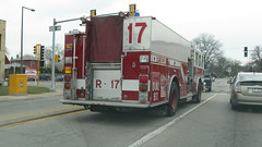 Skokie Fire Department truck # 17. Skokie Illinois USA. Early March 2009.