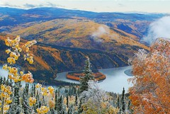 Yukon river at Dawson City from the Dome (xtremepeaks) Tags: autumn canada river landscape gold frost view north yukon rush dawson klondike aplusphoto