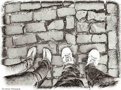 Walk On By (Meremail) Tags: 7daysofshooting week41mymodeoftransport monomonday cobbles cobblestones feet legs runblemumbles walk walking pedestrian shoes bw blackandwhite flickrgolfclub newcamera bej