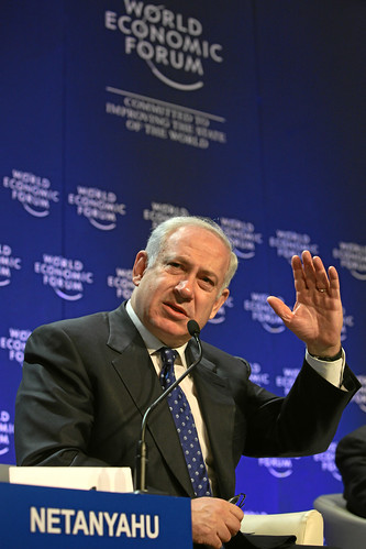Benjamin Netanyahu speaks at the World Economic Forum.
