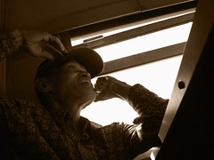 on the train (yesy belajar memotrek) Tags: train indonesia oldman malang indonesian bapak eastjava economyclass