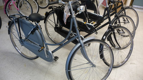 Silver, single speed, Old Dutch bicycle by Batavus at Flying Pigeon LA.