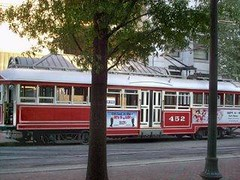 A curbside view of the Memphis Main Street Trolley car # 452. Memphis Tennesee. September 2007.