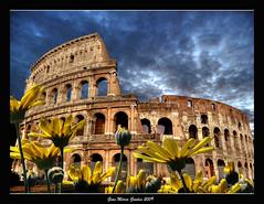 I love Colosseo (gianmarco giudici) Tags: sky italy flower roma art monument yellow clouds lumix italia nuvole monumento colosseum coliseo giallo fiori foriimperiali colosseo urbe anfiteatroflavio lumixtz5 gianmarcogiudici platinumpeaceaward