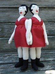 Siamese Twin doll, red dress