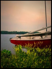 Sunset sail (Amy V. Miller) Tags: pink blue red sky lake green nature water yellow sailboat garden landscape photography boat photo big sailing indiana fave winner ribbon wildflowers platinum winners reseviour lizaa mywinners abigfave platinumphoto comcordians enchantng