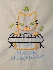 Keyboard Cat (Handmade Stuffs) Tags: silly keyboard handmade embroidery memes