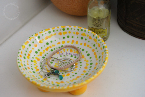 funky yellow and green dotty dish