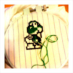 WIP (benjibot) Tags: clothing crossstitch videogames yoshi snes onesie yoshisisland