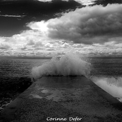 """Ciel et Mer"" - ""Sea & Sky"" 3 (Corinne DEFER - DoubleCo) Tags: travel light sunset sea bw mer france nature clouds square landscapes blackwhite nice sand darkness image noiretblanc cloudy horizon pebbles nb ctedazur paca ciel squareformat provence nuages 06 paysage vague vagues plage paesaggi paysages contrejour paisagens obscurit landschaften carr frenchriviera  intheevening negroblanco abigfave cieletmer blackwhiteaward carrfranais pentaxart corinnedefer monochromeaward updatecollection nicenuageux"