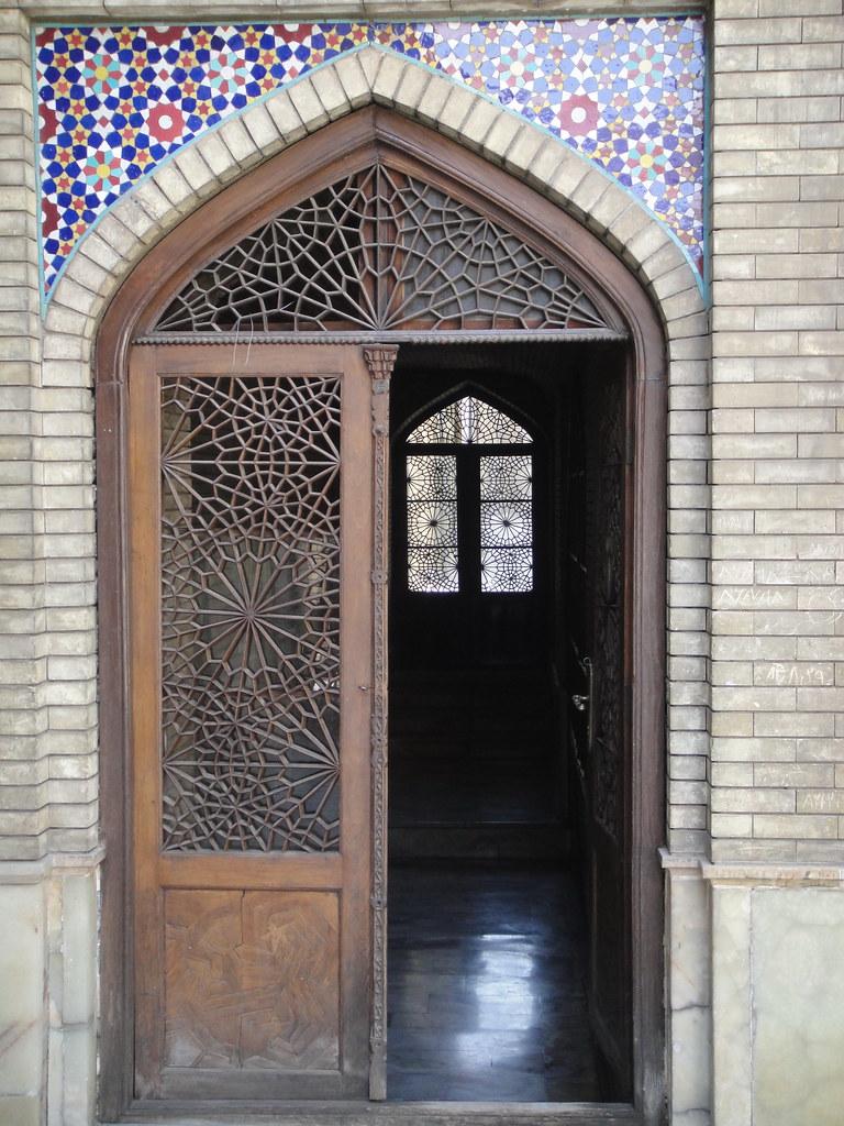 Decorated wooden doors