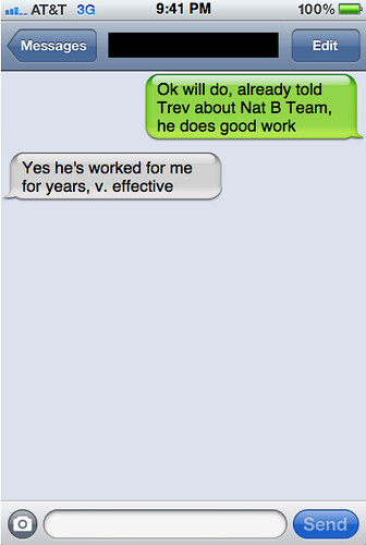 Txts from New York: Rodney and Helen chat